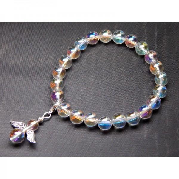 Aura (opál/angyal) kvarc karkötő medállal